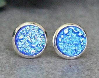 Blue Stud Earrings, Blue Druzy Earrings, Blue Earrings, Blue Post Earrings, Small Blue Earrings, Faux Druzy Earrings, Tiny Blue Earrings