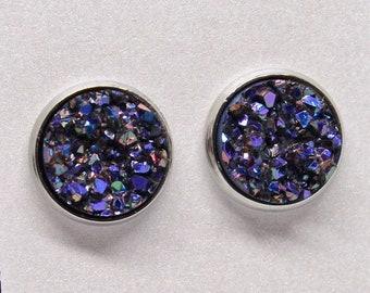 Dark Purple Druzy Style Earring Studs Glitter Earring Studs Bridesmaid Gift for her