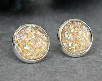 Champagne Stud Earrings, Champagne Druzy Earrings, Champagne Earrings, Champagne Post Earrings, Champagne Bridesmaid Earrings, Peach Studs