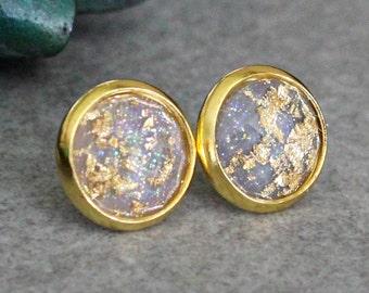 Grey Stud Earrings, Grey Earrings, Grey Post Earrings, Gold Flake Earrings, Gold Glitter Earrings, Gold Stud Earrings, Gold Earrings