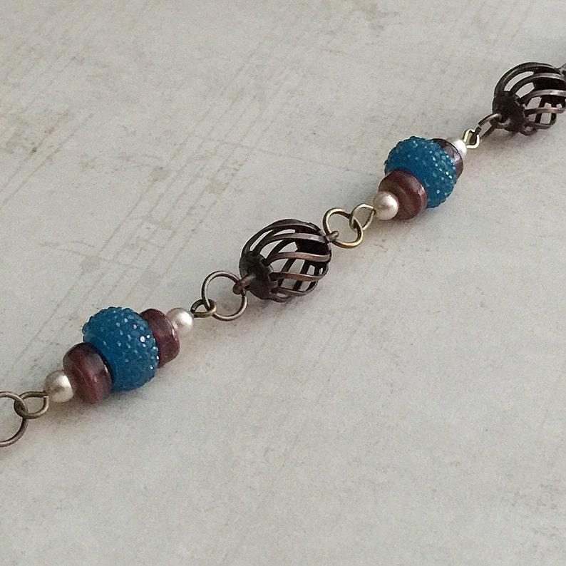 Blue Bead Bracelet Blue Bracelet Blue and Brown Bracelet Boho Bracelet Pearl Bracelet Blue Beaded Bracelet Pearl Bead Bracelet