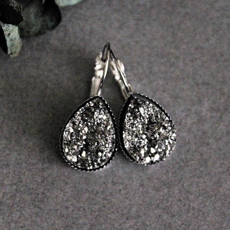 da7f7bbfe Gunmetal Teardrop Earrings Grey Teardrop Earring Gunmetal | Etsy