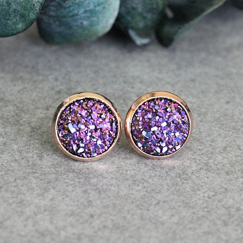 b0db19b728d1a Magenta Earrings, Dark Pink Earrings, Purple Earrings, Rose Gold Stud  Earrings, Pink Druzy Earrings, Pink Stud Earrings, Gifts Under 10