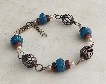 Blue Bracelet, Blue Bead Bracelet, Blue Beaded Bracelet, Pearl Bead Bracelet, Pearl Bracelet, Blue and Brown Bracelet, Boho Bracelet