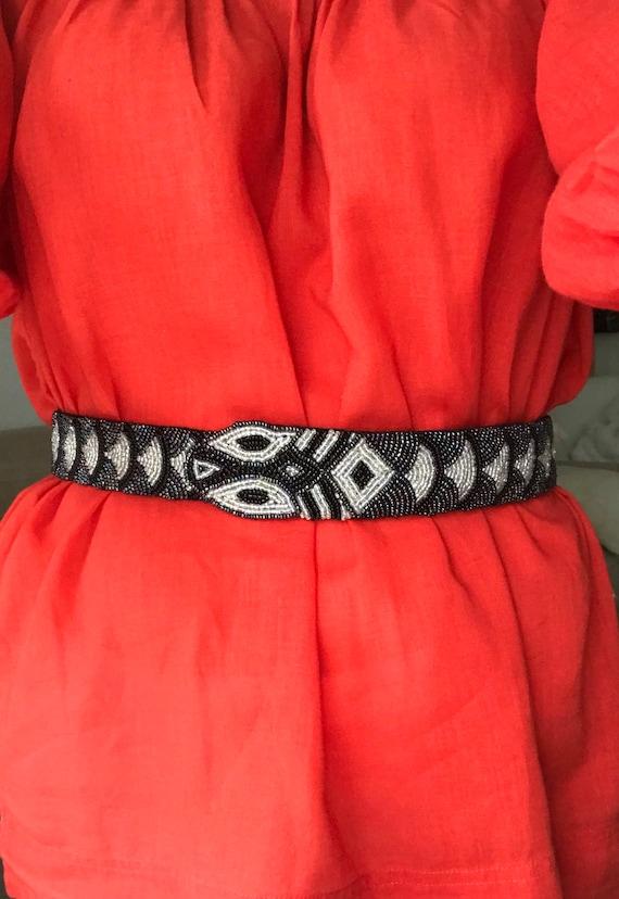 Vintage Snake Belt Hand Beaded with Black Velvet B