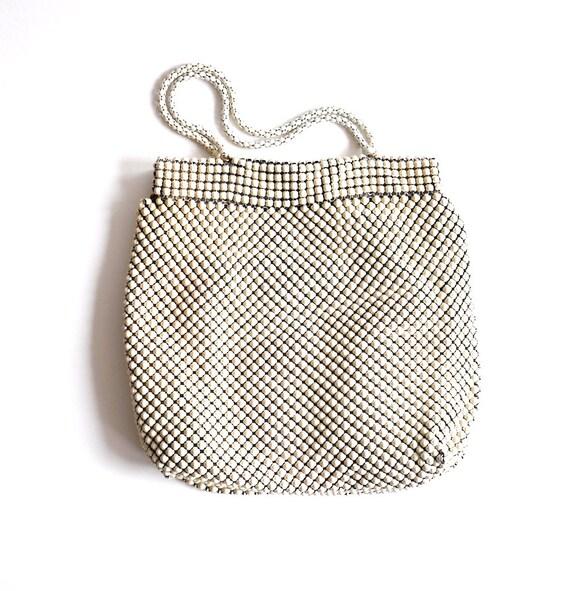 White Handbag, Metal Mesh Purse, Vintage Whiting a