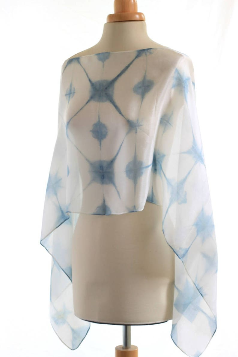 ebbb6c9fccf0b Shibori silk scarf indigo itajime shibori shawl organic | Etsy