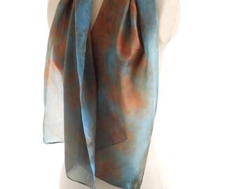 emerald green scarf, eco print silk scarf, eucalyptus indigo shawl, botanical print scarf, boho silk gift hand dyed ecological accessory