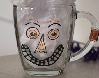 Coffee. Mug. Halloween. Hand painted glass. jack. pumpkin. joker. steampunk. wired. folk art. Ready to Ship!