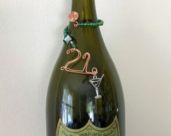 21. Birthday. Anniversary. Bottle tag. Wine charm. Bottle necklace. Bottle jewelry. Decanter tag. Gift boxed. Gift tag. Ready to ship!