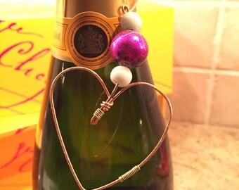 FREE SHIPPING! Wedding. Heart bottle necklace. love. engagement. wine bottle tag. birthday. bottle jewelry. wine jewelry. hostess gift.