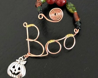 Halloween Pumpkin. Bottle tag. Wire word. Wine charm. Bottle necklace. Bottle jewelry. Housewarming. Decanter tag. Gift boxed. Ready to ship