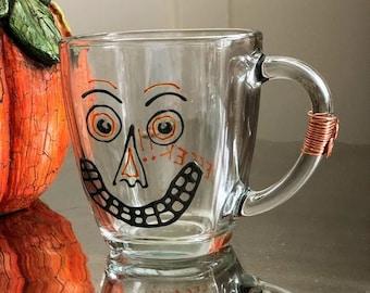 Glass coffee mug. Halloween. Hand painted. jack. pumpkin. joker. steampunk. wired. folk art. Ready to Ship!