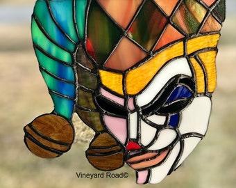 Stained Glass. Jester. Joker. Fool. Harlequin. Suncatcher. Medieval. Renaissance. Mardi Gras. Cosplay. Unique original. Ready to Ship!
