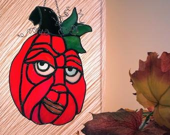 Halloween. Stained glass. Jack o lantern. Pumpkin. Ornament. Suncatcher. Buster. Grumpy. Smirk. Ready to Ship!