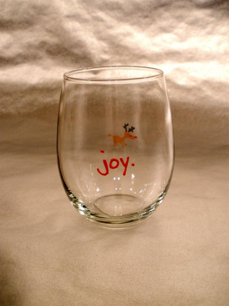 Stemless wine glass. Christmas decor. Hand painted. Juice image 0