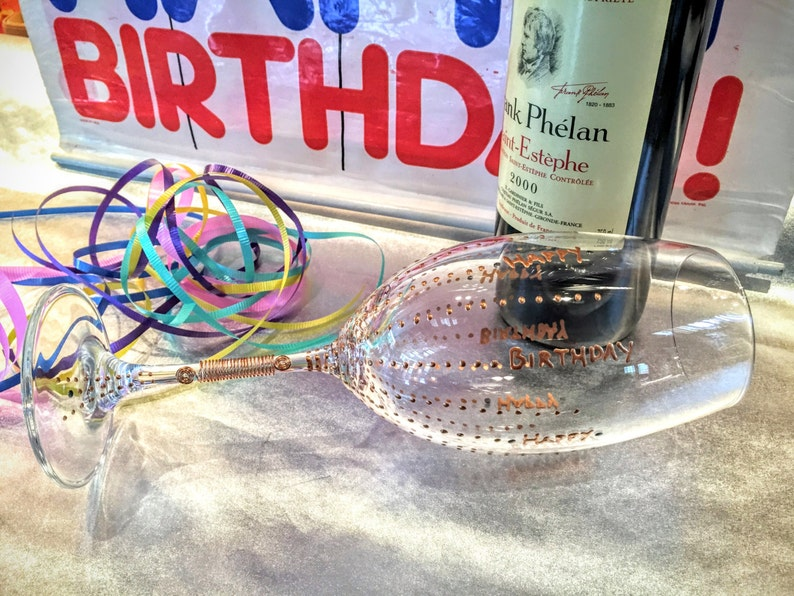 Birthday crystal wine goblet. hand painted. wired. gift image 0