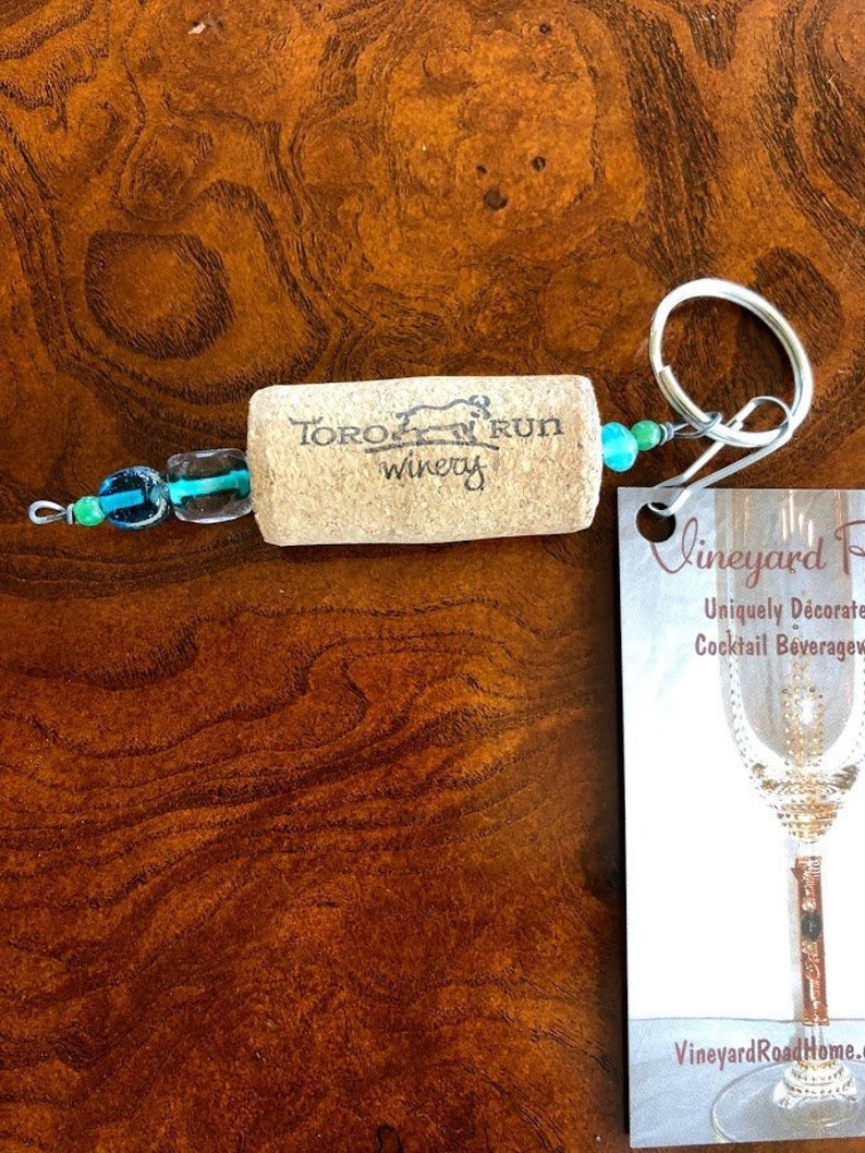 SALE Buy one Get one FREE SHIPPING Wine cork key ring. image 0