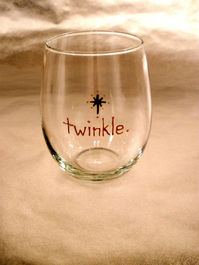 Stemless wine glass. Christmas decor. Hand painted. Juice image 0