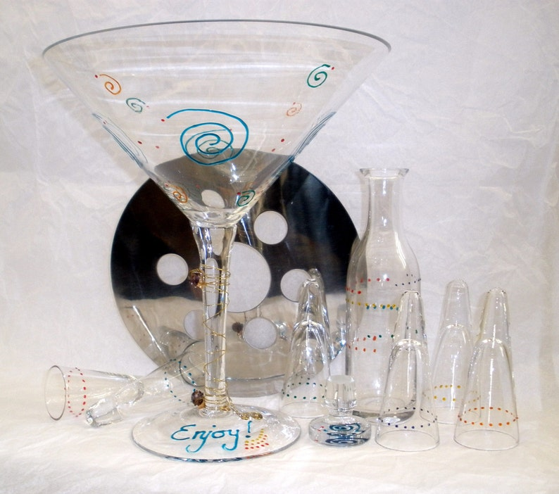 Hand Painted Chiller Shot Martini Set Oversized Vodka image 0