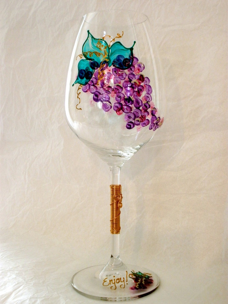 Oversized Hand Painted Grapes Crystal Wine Glass.  Wired Stem. image 0