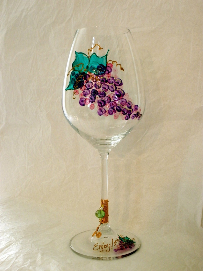 Oversized Hand Painted Grapes Crystal Wine Glass. Wire and image 0