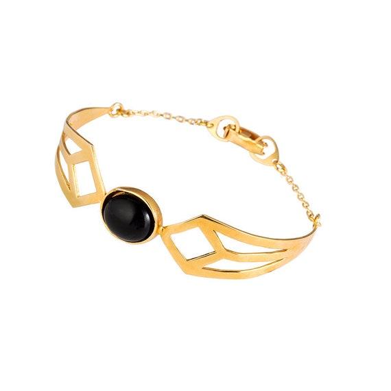 Art deco geometric urban bracelet a modernist retro bangle with a gatsby diamond shape style Minimalist statement artistic jewelry
