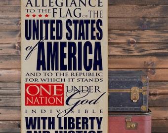 "Pledge of Allegiance/Patriotic/Military/Americana Subway Art Wooden Vinyl Sign 12"" x 24"". Americana signs, patriotic signs, military decor"
