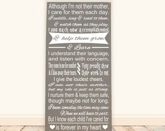 "Daycare, Preschool, Nanny Poem Vinyl Wood Sign 12""x24"". Babysitter gift, Daycare gift, gift for nanny, daycare provider, Caregiver sign"