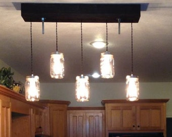 "The ""Breakfast Bar"" Mason Jar  Pendant Light"