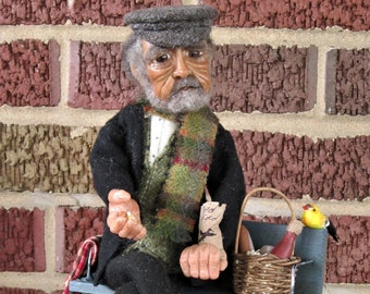 Art Doll/Polymer Clay/Hand Sculpted/OOAK/Birds/In The Park/Art/Heirloom/Collectible/Doll/One  of A Kind/Old Man/picnic