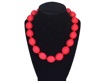 SillyMunk™ Silicone Autistic Chunky Chewable Necklaces for Kids to Wear Red