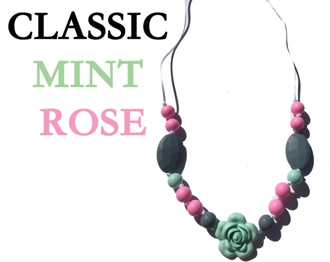 SillyMunk™ Silicone Classice Mint Rose Teething Necklaces
