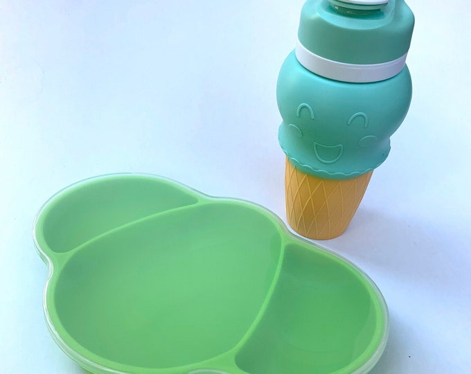Silicone Ice Cream Cup and baby suction plate- Mint and Green