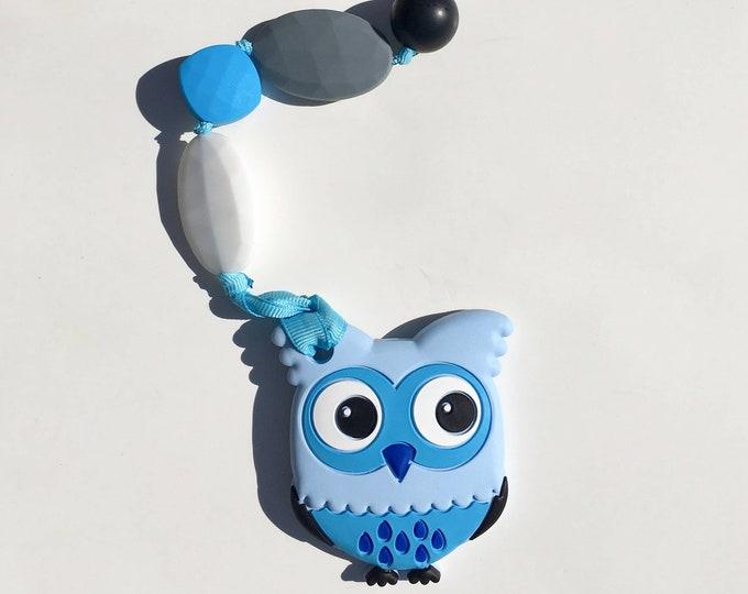 SillyMunk™ Silicone Teething Clip- Blue owl
