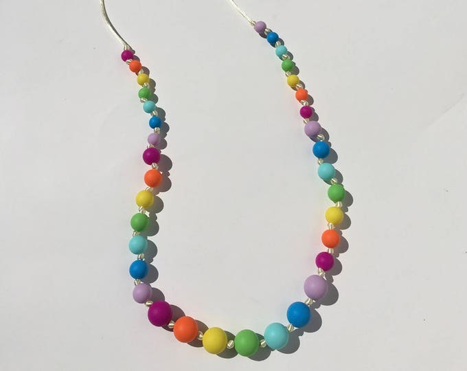 Silicone Teething Necklace Rainbow Teething Necklace