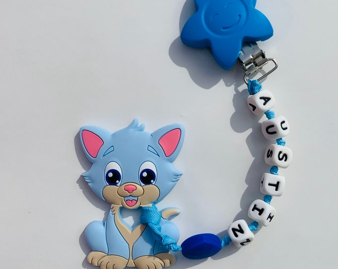 SillyMunk™ Blue Cat Personalized Teething Clip