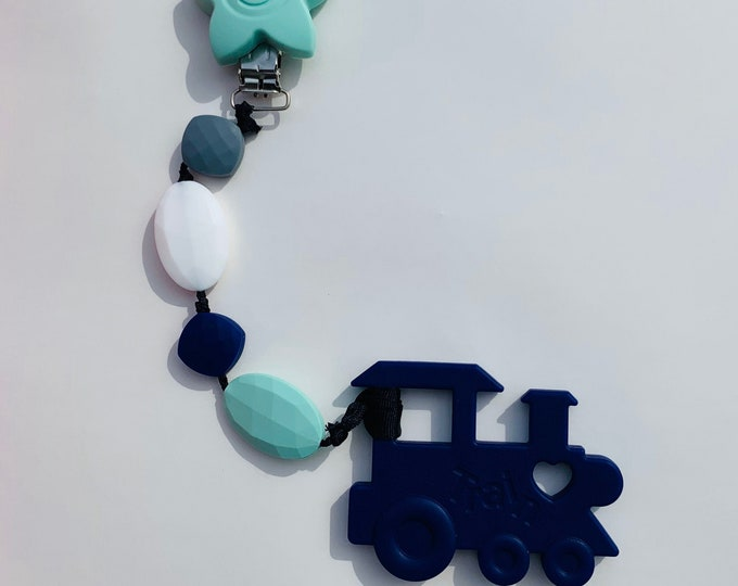 SillyMunk™ Purple and Mint Train Teething Clip