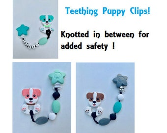 SillyMunk™ Puppy Teething Pacifier Clip  SAFE to chew on Silicone Teething Necklace BPA Free for teething babies
