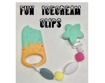 SillyMunk™ Ice Cream Teething Pacifier Clip  SAFE to chew on Silicone Teething Necklace BPA Free for teething babies