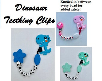 SillyMunk™ Silicone Personalized Teething Dinosaur Clip