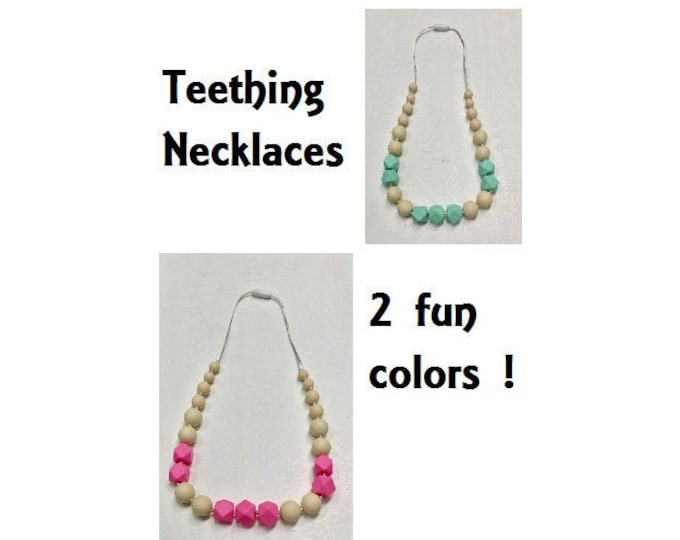 SillyMunk™  Teething Necklace  SAFE to chew on Silicone Teething Necklace BPA Free for teething babies