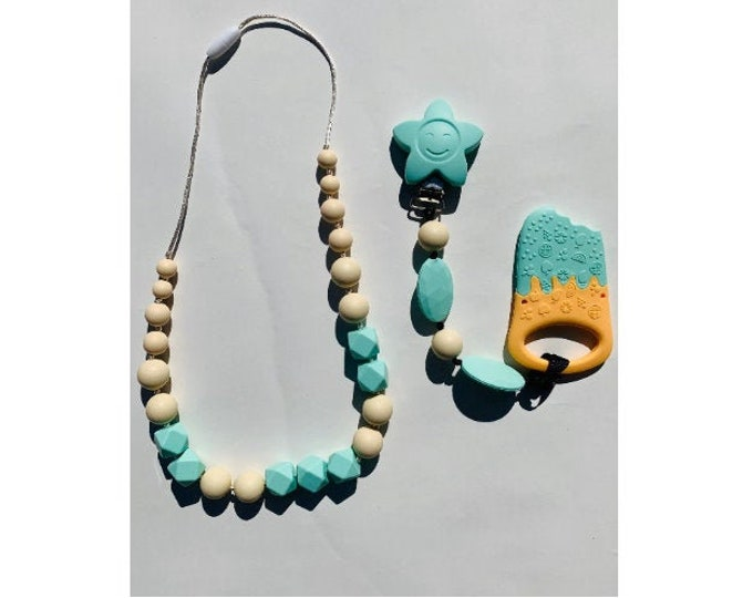 SillyMunk™ Ice Cream Teether and Necklace Set