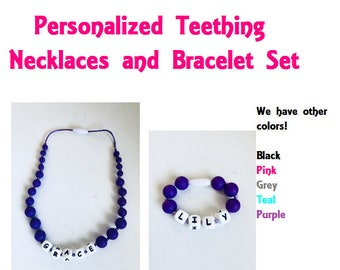 SillyMunk™ Silicone Personalized Teething Autistic Necklace and bracelets  for Kids  Set