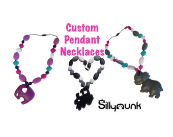 SillyMunk™ Silicone Teething Pendant Necklace  Chose your own ! Elephant , hippo and more !