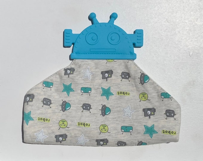 FREE SHIPPING  SillyMunk™ Silicone Teething bibs- Robot Bib blue