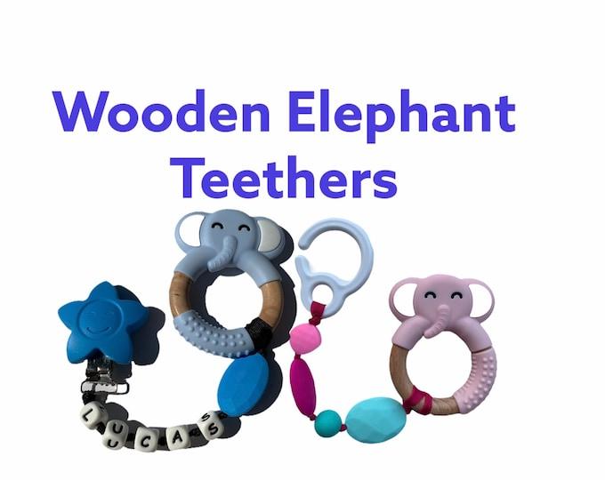 Wooden Elephant chewable clip