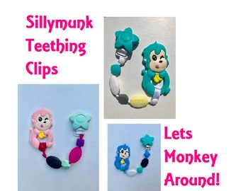 SillyMunk™ Monkey Teething Pacifier Clip  SAFE to chew on Silicone Teething Necklace BPA Free for teething babies