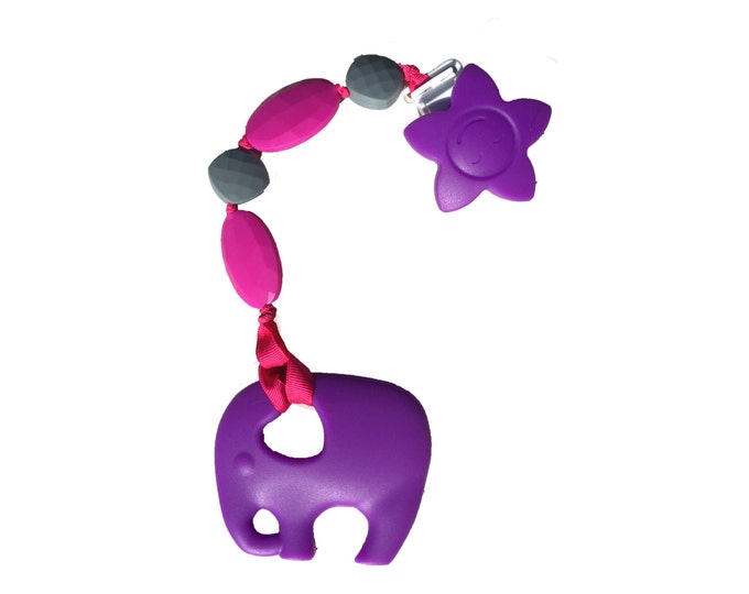 SillyMunk™ Silicone Teething Purple Elephant Clip