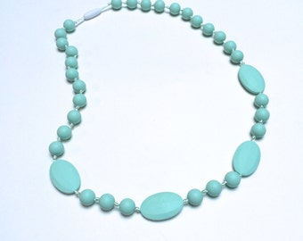 SillyMunk™ Silicone Mint Teething Necklace BPA Free for nursing moms and teething babies